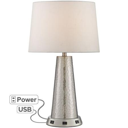 360 Lighting Silver Leaf Hammered Metal Table Lamp with USB Workstation Base (Hammered Nickel Table)
