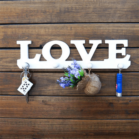 Meigar White Love Coat Hat Key Holder 4 Hooks Clothes Bag Robe Mount Screw Wall Rack Door Bathroom Home Decor Hanger