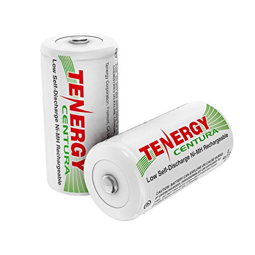 Tenergy Centura C Size 4000mAh Low Self-Discharge (LSD) NiMH Rechargeable Batteries, 1 Card 2-Pack