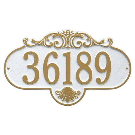 Personalized Whitehall Products Rochelle Petite Address Plaque in White/Gold ()