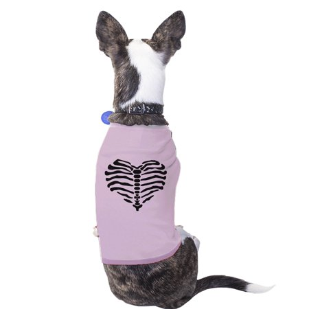Heart Skeleton Funny Halloween Costume Tshirt For Small Dogs Gifts