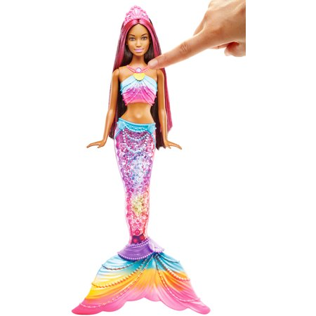 Barbie Rainbow Lights Mermaid Doll with Water Activated Light-Up Tail - Tails Doll Happy Halloween