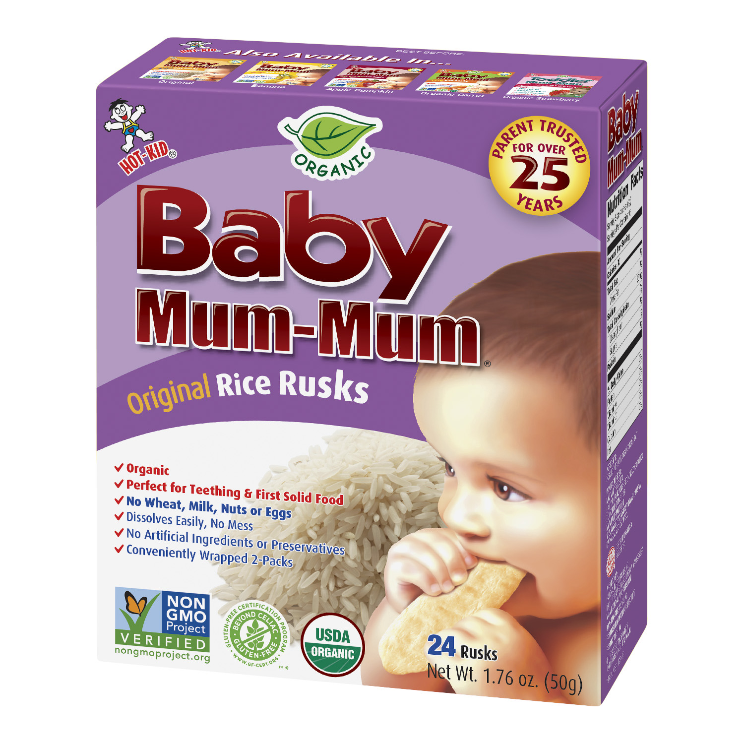 Hot Kid Baby Mum-Mum Organic Original Rice Rusks, 24 count, 1.76 oz