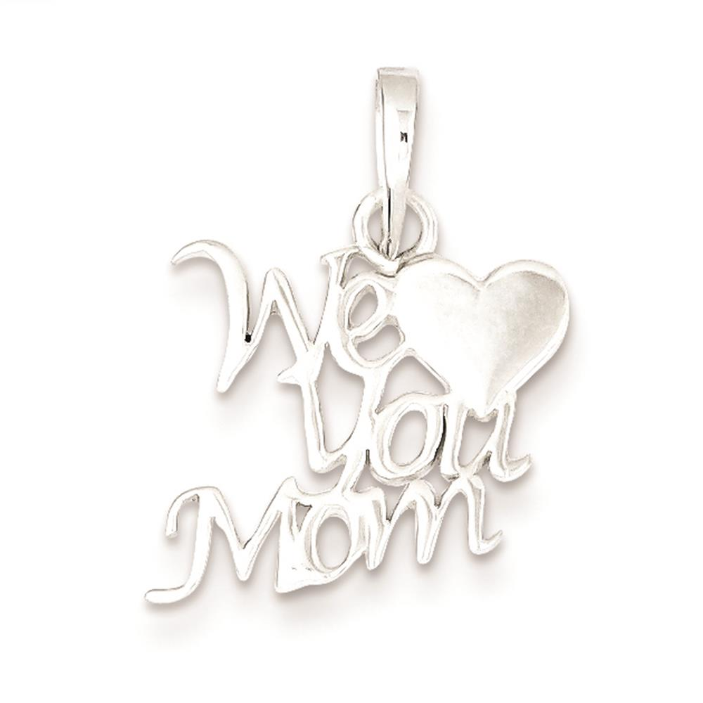 925 Sterling Silver Polished We Love You MOM Charm Pendant 20mmx18mm