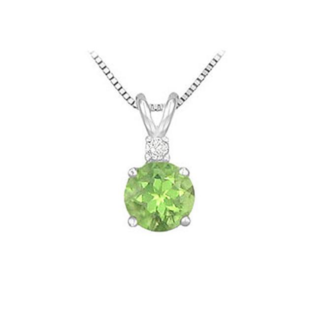 Fine Jewelry Vault SCPDVRD600PRW Diamond and Peridot Solitaire Pendant - 14K White Gold - 1. 00 CT TGW