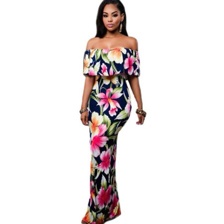 410a62d7908b Women Boho Floral Off Shoulder Maxi Dress Cocktail Party Summer Beach  Sundress Flower Casual - Walmart.com