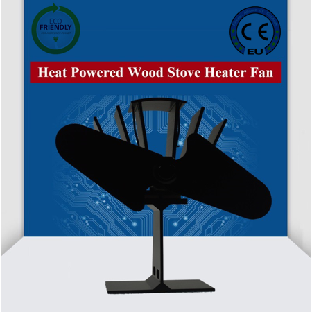 interbuying Aluminum Wood Stove Heater-Two Blades Heat Powered Eco Fan for Stoves 123010