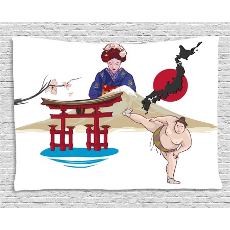 Asian Tapestry, Japanese Woman Traditional Athlete Temple Hand Fan Ethnic Cultural Icons Illustration, Wall Hanging for Bedroom Living Room Dorm Decor, 60W X 40L Inches, Multicolor, by - Asian Fans