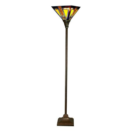 River of Goods Stained Glass Mission Style Southwestern Torchiere Floor Lamp