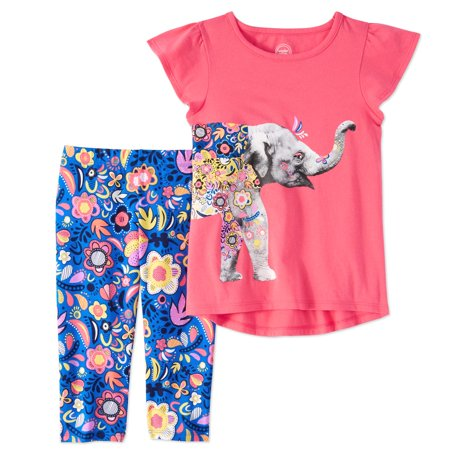 Little Girls' 4-8 Ruffled Animal T-shirt and Capri Legging 2-Piece Outfit Set - Ninja Girl Outfits