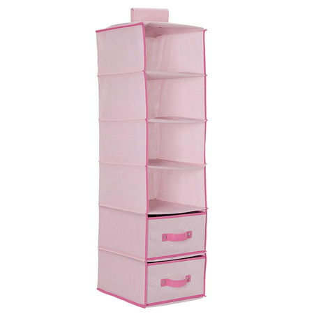 Delta Children 6-Shelf Hanging Storage Unit with 2 Drawers, Barely Pink