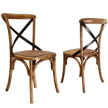 Joveco Antique Style X Back Solid Wood Dining Chair with Soft Rattan Seat-  Set of - Joveco Antique Style X Back Solid Wood Dining Chair With Soft Rattan