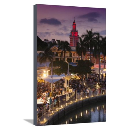USA, Florida, Miami, City Skyline with Bayside Mall and Freedom Tower Stretched Canvas Print Wall Art By Walter (Tower Place Mall)