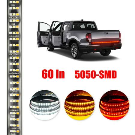 - 60 Inch Triple LED Truck Tailgate Side Bed Light Bar Strip 504 LEDs Amber Brake Running