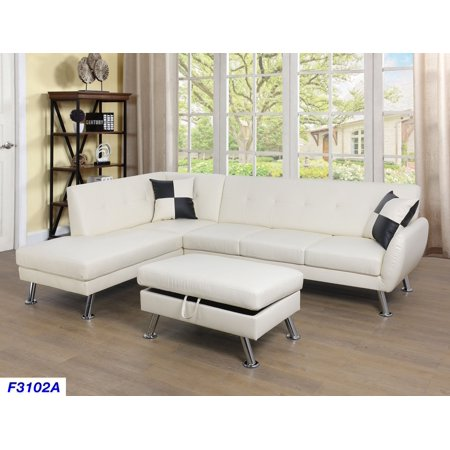 Astonishing For U Furnishing White Faux Leather Sectional Sofa Chrome Leg Feature Left Facing Chaise 74 5D X 103 5W X 33H Ncnpc Chair Design For Home Ncnpcorg