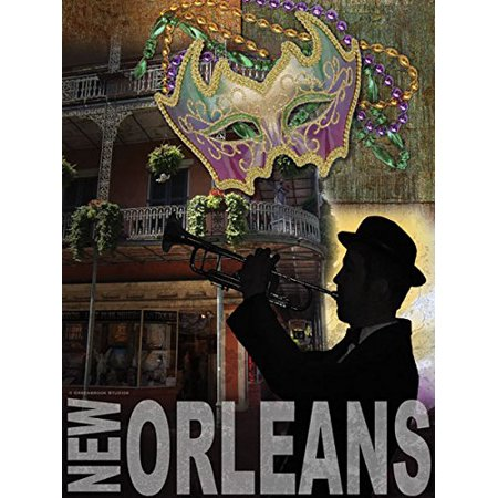 New Orleans Canal Street - Popular New Orleans Mardi Gras Bourbon Street Trumpet Player Sign; One 12x16in Poster Print