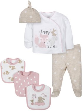 Wonder Nation Baby Girl Take Me Home Outfit & Bibs Baby Shower Layette Gift Set, 6pc