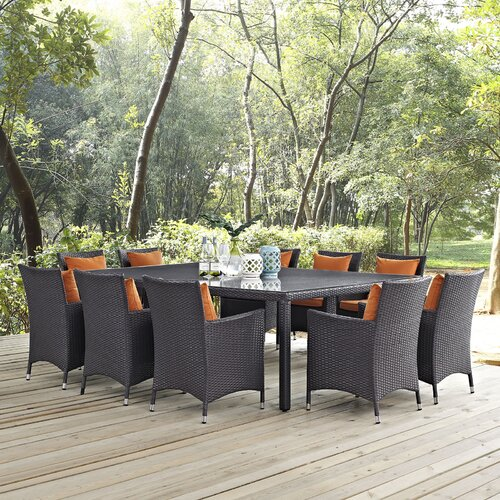 Sol 72 Outdoor Brentwood Outdoor Patio 11 Piece Dining Set with Cushions