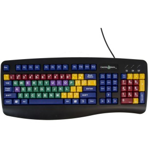Ablenet 12000028 Learning Board QWERTY Color Coded Vowels USB Keyboard