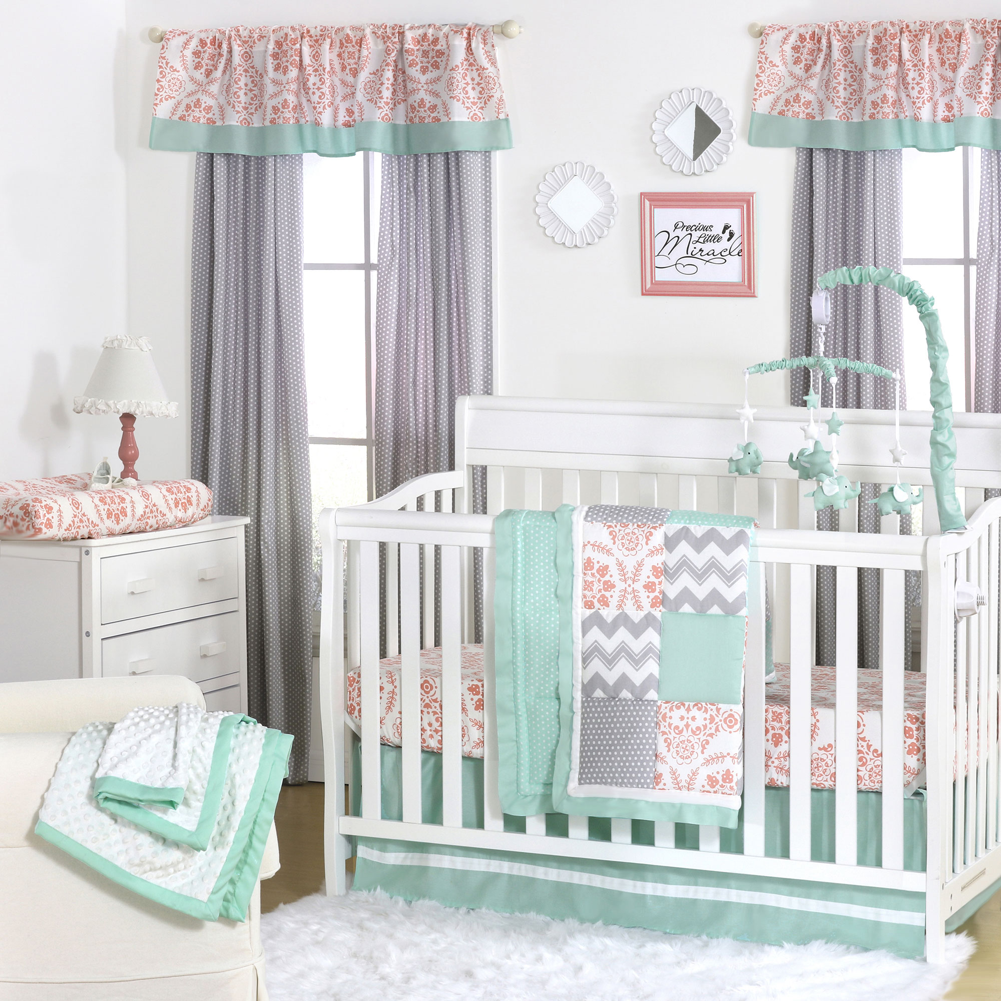 Image of: Green Baby Furniture To The Peanut Shell Piece Baby Crib Bedding Set Mint Green Coral And Grey