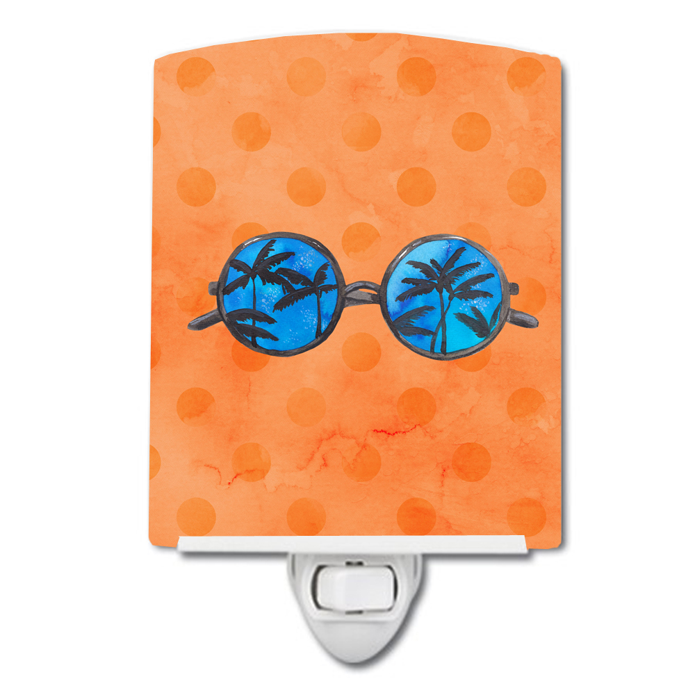 Sunglasses Orange Polkadot Ceramic Night Light