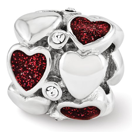 Red Glitter Enamel Crystal Double Row Heart Charm in Sterling Silver Double Row Crystal