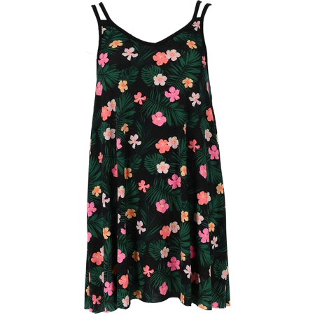 Women's Hibiscus Print Sleeveless Dress Cover Up,  Black ()