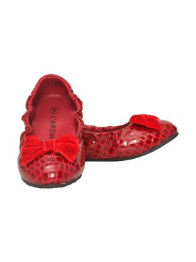 9a209de0935e Product Image L Amour Girls Red Croc Embossed Bow Elasticized Flats