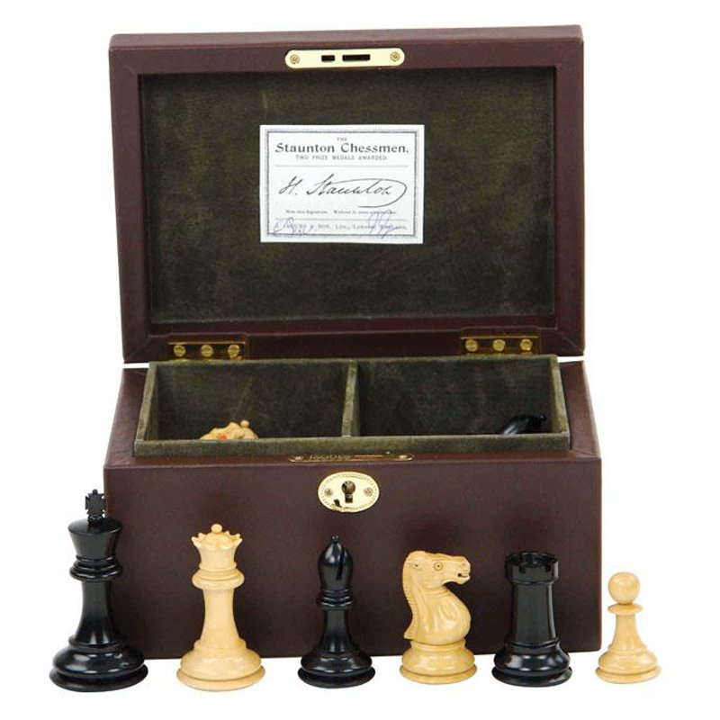 Jaques Reintroduction Chess Set Leather Box