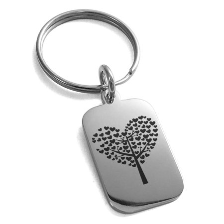 Stainless Steel Tree of Hearts Engraved Small Rectangle Dog Tag Charm Keychain Keyring for $<!---->