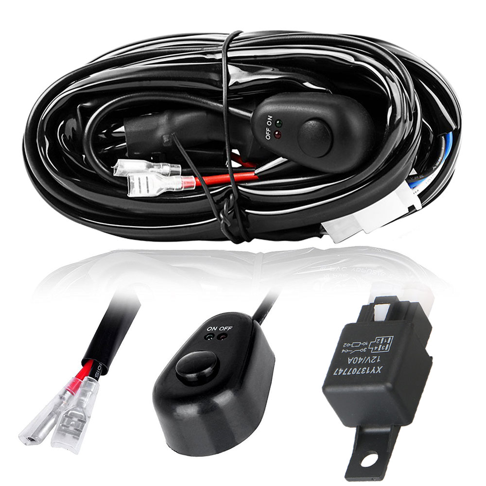 12V/40A Offroad Driving Light Bar Wiring Harness with Fuse Relay ON/OFF Switch for ATV Jeep Fog LED Spotlights