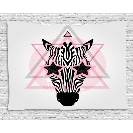 - Pink Zebra Tapestry, Zebra Head Star Eyes Boho Portrait Geometric Primitive Effect Ethnic, Wall Hanging for Bedroom Living Room Dorm Decor, 80W X 60L Inches, Baby Pink Black White, by Ambesonne