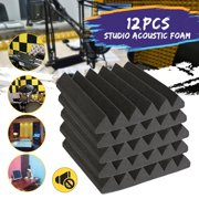 """12-Pack 2"""" x 12"""" x 12"""" Charcoal Sound Insulation Sponge Acoustic Panels Wedges Studio Soundproofing Foam KTV Recording Noise Acoustic Foam Insulation Sponge Tiles Wall"""