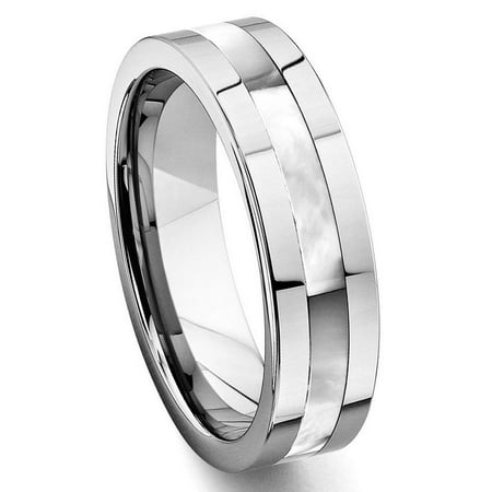 Tungsten Carbide Mother of Pearl Inlay Wedding Band Ring Sz 10.0