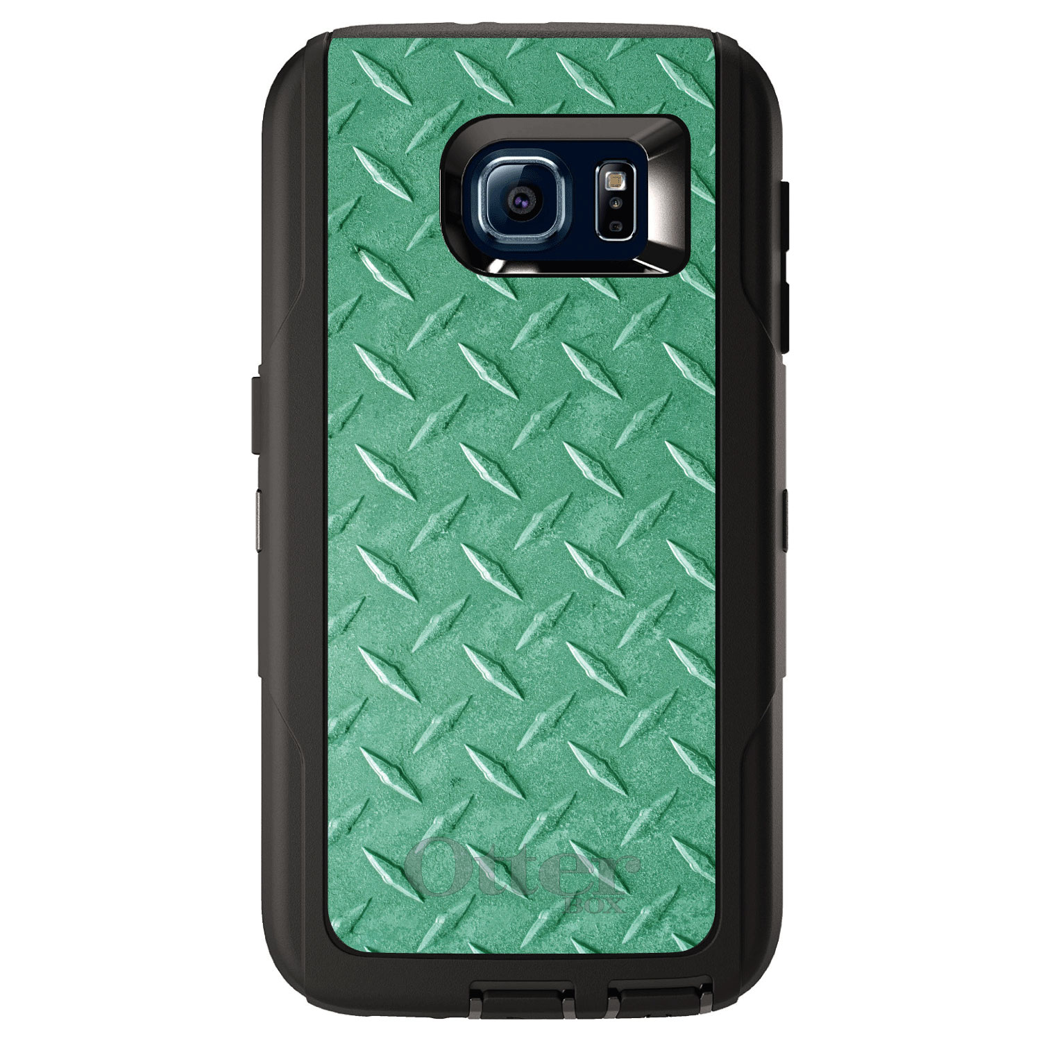 DistinctInk™ Custom Black OtterBox Defender Series Case for Samsung Galaxy S6 - Green Diamond Plate Steel Print