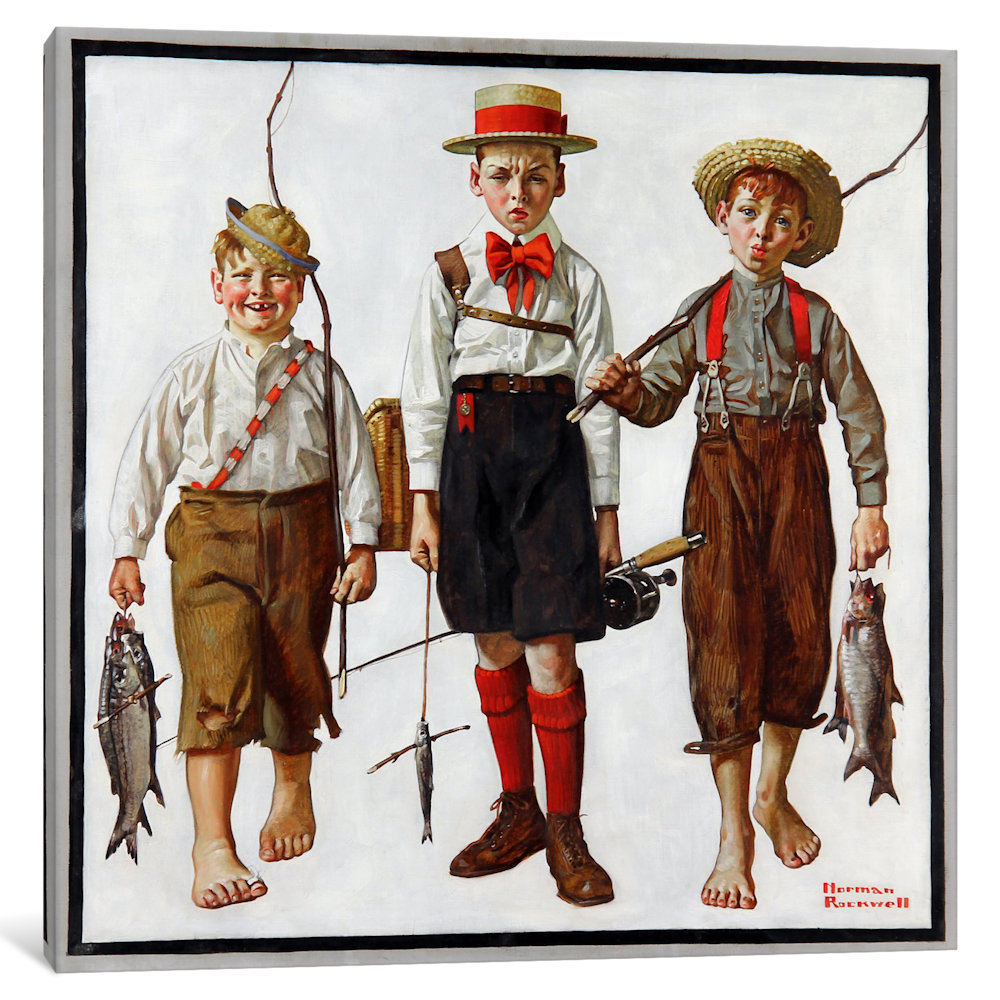 iCancas The Catch Gallery Wrapped Canvas Art Print by Norman Rockwell