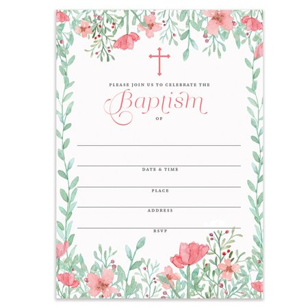 """Girl Baptism Invitations with Envelopes ( Pack of 25 ) Pink Floral Christening Invite Large 5x7"""" Fill In Blank Religious Celebration Baptismal Mass Reception Lunch Brunch Party Excellent Value VI0099B"""