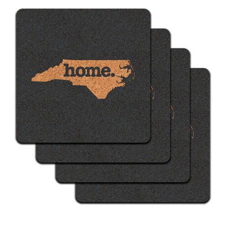 North Carolina NC Home State Low Profile Cork Coaster Set - Solid Navy
