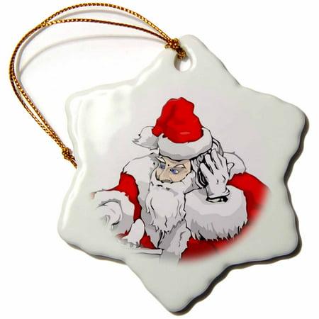 3dRose DJ Santa Claus Mixing The Christmas Party Track, Snowflake Ornament, Porcelain, - Santas Paper Snowflake Studio