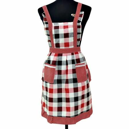 Iuhan Apron and Chef Art Bonnet Costume Cute Dress Women Lady Restaurant Home Kitchen For Pocket Cooking Cotton Apron Bib (Bonnet Apron)