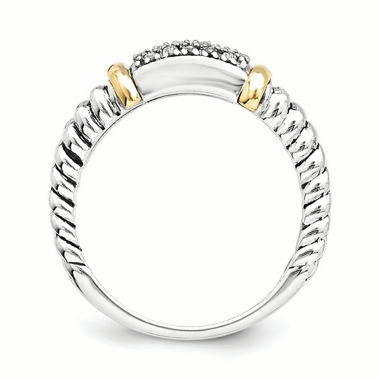 Sterling Silver Two Tone Silver And Gold Plated Sterling Silver w/Diamond Ring - image 2 of 3