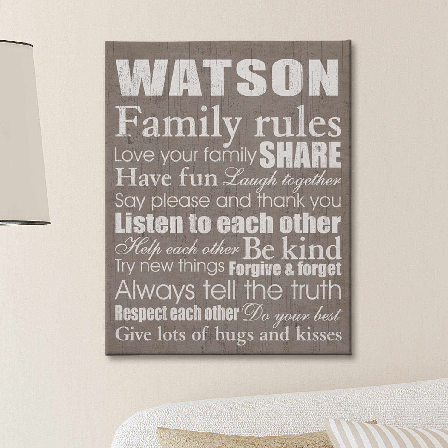 "Personalized Family Rules Canvas, Taupe 11"" x 14"""