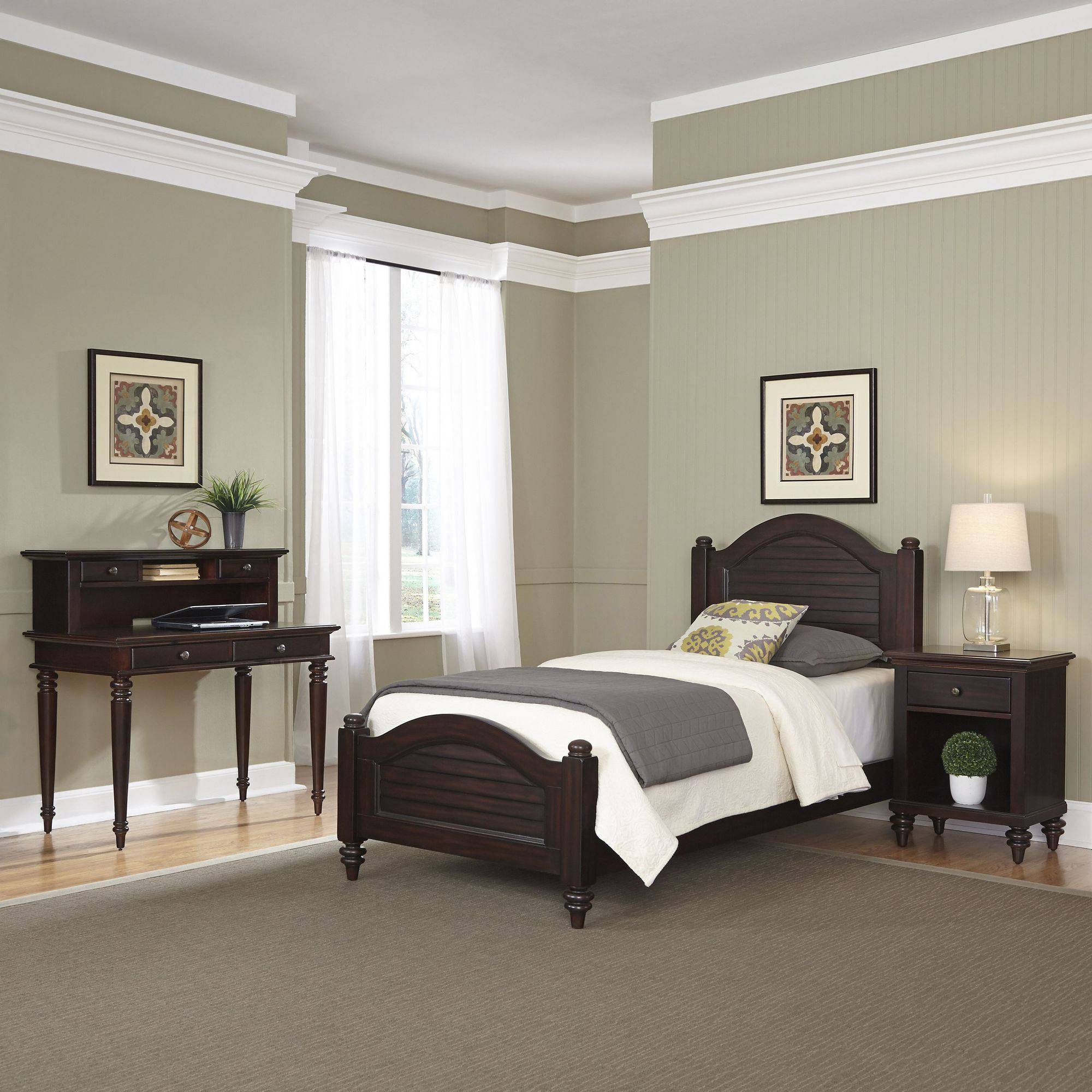 Home Styles Furniture Bermuda Espresso Twin Bed, Night Stand and Student Desk with Hutch