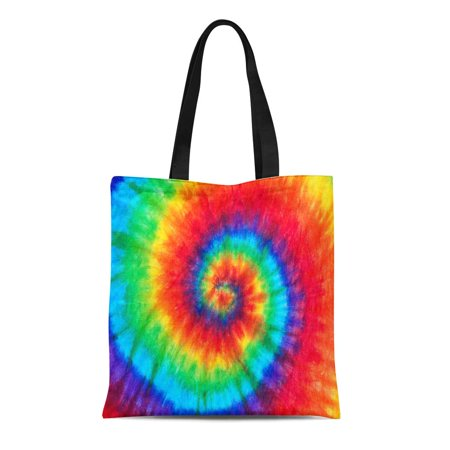 KDAGR Canvas Tote Bag Colorful Rainbow Spiral Tie Dye Pattern Color Dyed Batik Durable Reusable Shopping Shoulder Grocery Bag