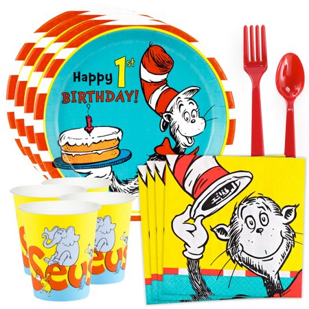 Dr. Seuss 1st Birthday Standard Tableware Kit (Serves 8) (Dr Seuss Party Supplies 1st Birthday)