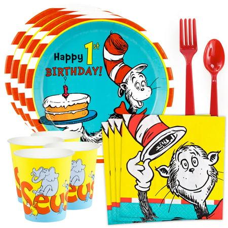 Dr. Seuss 1st Birthday Standard Tableware Kit (Serves 8) - Doctor Seuss Birthday