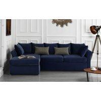 Modern Home Large Microfiber Velvet Sectional Sofa, Navy