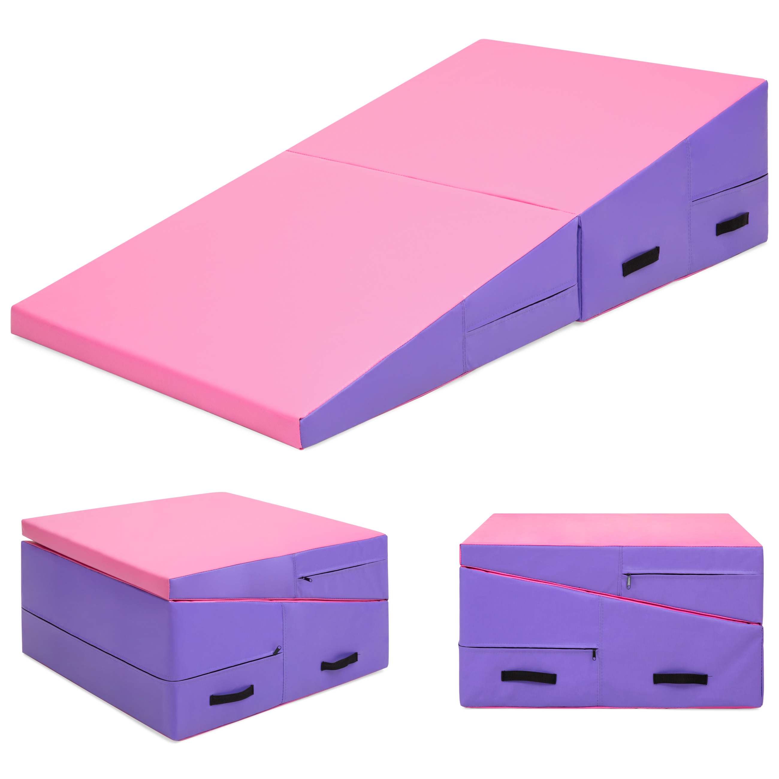 Best Choice Products 71x30x14in Folding 2-Panel Cheese Wedge Incline Gym Mat for Tumbling w/ Handles - Pink/Purple