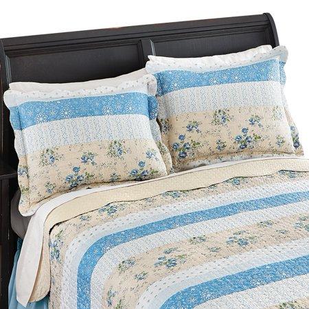 Stripe Floral Patchwork Quilted 2 Piece Pillow Sham Set, Sham, Blue