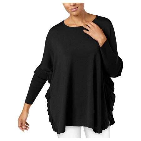 NY Collection Womens Ruffled Wide Neck Poncho Sweater